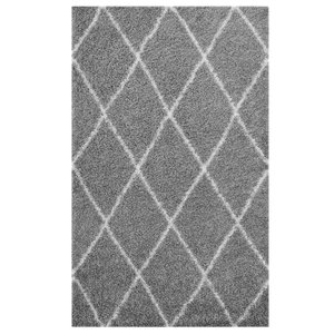 Toryn Diamond Lattice 8' x 10' Shag Area Rug Gray And Ivory