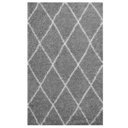 Toryn Diamond Lattice 8' x 10' Shag Area Rug Gray And Ivory
