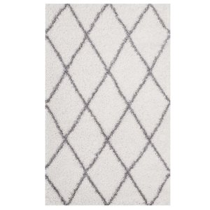 Toryn Diamond Lattice 8' x 10' Shag Area Rug Ivory And Gray
