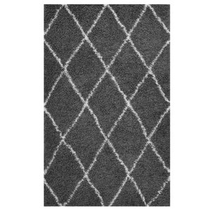 Toryn Diamond Lattice 8' x 10' Shag Area Rug Dark Gray And Ivory