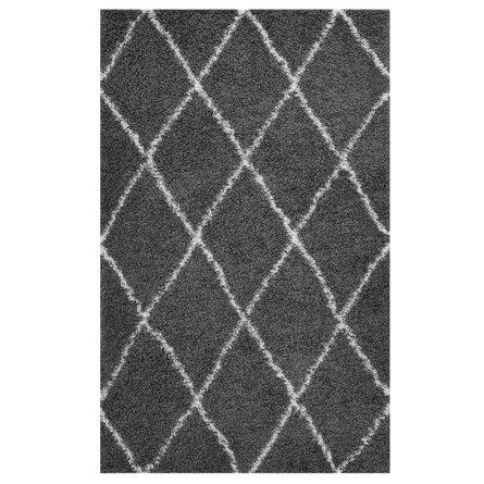 Toryn Diamond Lattice 8' x 10' Shag Area Rug Dark Gray And Ivory