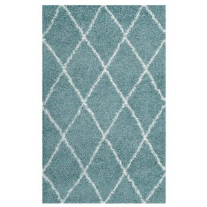 Toryn Diamond Lattice 8' x 10' Shag Area Rug Aqua Blue And Ivory