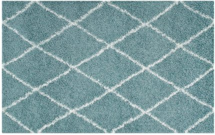 Toryn Diamond Lattice 8' x 10' Shag Area Rug Aqua Blue And Ivory