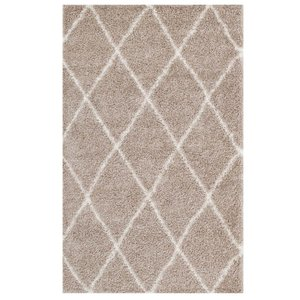 Toryn Diamond Lattice 8' x 10' Shag Area Rug Beige And Ivory