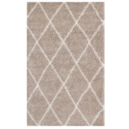 Toryn Diamond Lattice 8' x 10' Shag Area Rug Beige And Ivory