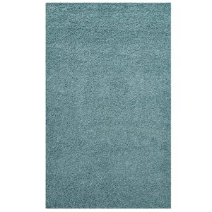 Enyssa Solid 8' x 10' Shag Area Rug Aqua Blue And Ivory