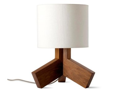 Rook Lamp White And Walnut