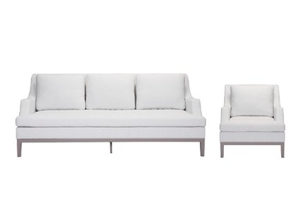 Ojai Sofa + Arm Chair Set White