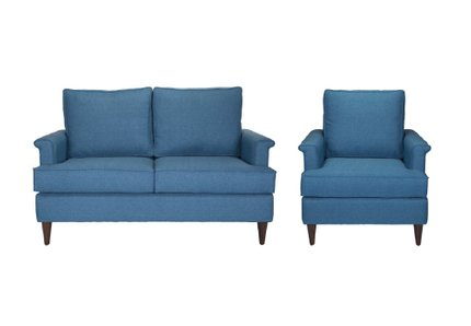 Campbell Loveseat + Arm Chair Set Blue