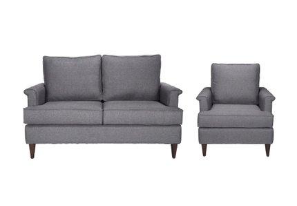 Campbell Loveseat + Arm Chair Set Dark Gray