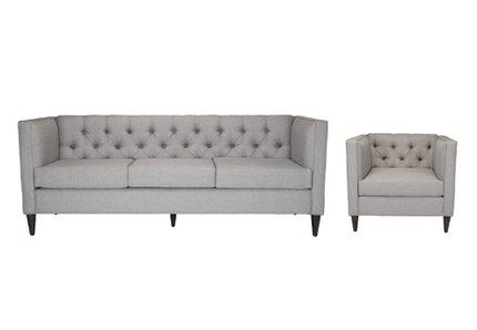Grant Sofa + Arm Chair Set Light Gray