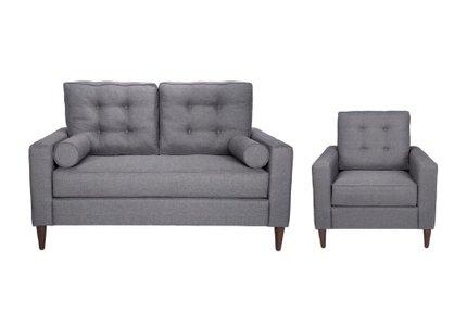 Morgan Loveseat + Arm Chair Set Dark Gray