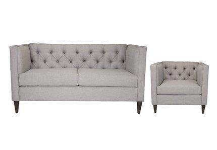 Grant Loveseat + Arm Chair Set Light Gray