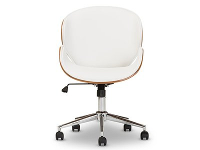Baxton Studio Bruce Office Chair White And Walnut