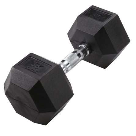 Hex 40 lb Dumbbell Black (Single Unit)