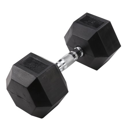 Hex 50 lb Dumbbell Black (Single Unit)