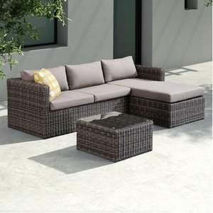 Leonardo Outdoor Rattan Sectional Dark Brown