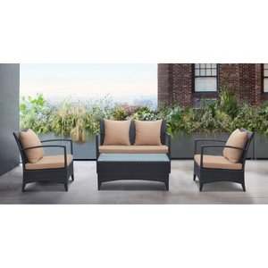 Thiago Outdoor Wicker Patio Set Brown