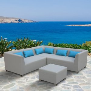 Tre Outdoor Textilene Sectional Set Taupe