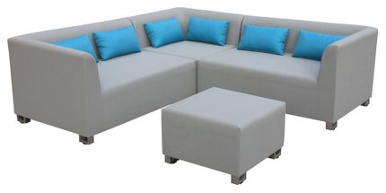 Tre Outdoor Textilene Sectional 4 Piece Set Taupe