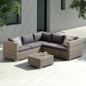Chica Outdoor Rattan Sectional Set Dark Brown