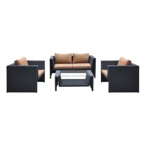 Juan Outdoor Wicker Patio Set Brown