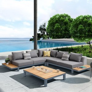 Outdoor Sectional 4 Piece Set Dark Gray