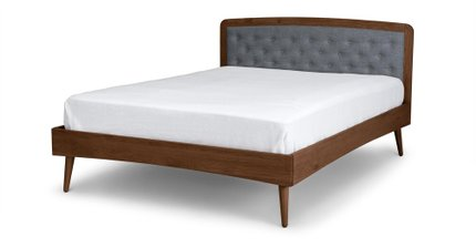 Culla Upholstered Queen Bed Gray & Walnut