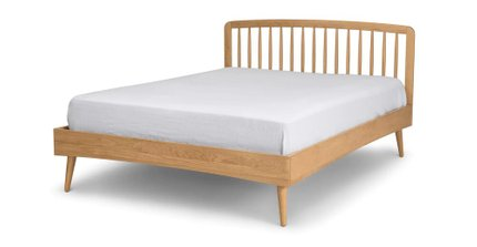 Culla Mid Century Modern Queen Bed Oak