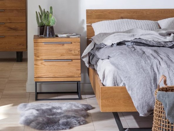 Article Taiga Industrial King Bed Rustic Oak