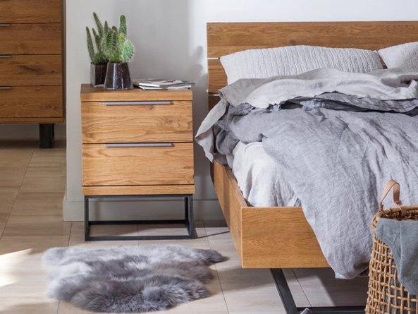 Article Taiga Industrial Queen Bed Rustic Oak