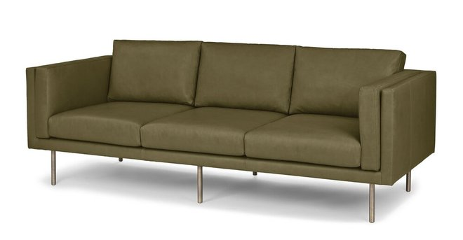 Belez Contemporary Leather Sofa Yuma Olive Green