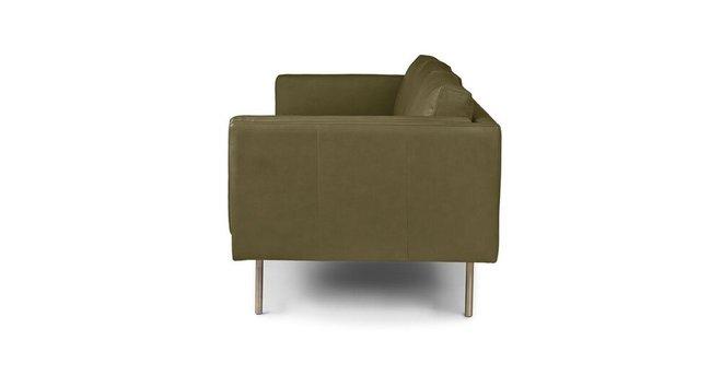 Belez Contemporary Leather Sofa Yuma Olive Green