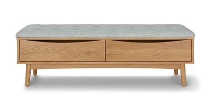 Culla Mid Century Modern Bench White Oak And Mist Gray