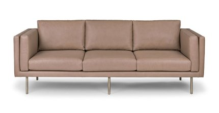 Belez Contemporary Leather Sofa Yuma Mink Taupe