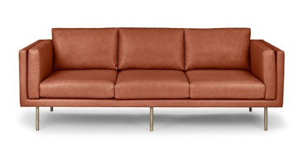 Belez Contemporary Leather Sofa Yuma Terra Red