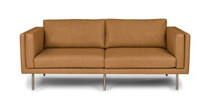 Yuma Contemporary Leather Sofa Tan