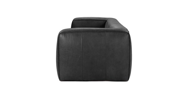 Cigar Contemporary Leather Sofa Charcoal