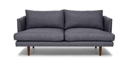 Article Burrard Mid-Century Modern Love Seat Stone Blue