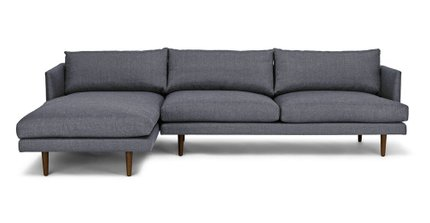 Article Burrard Left Sectional Sofa Stone Blue