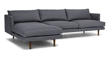 Burrard Left Sectional Sofa Stone Blue