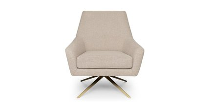 Spin Mid-Century Modern Swivel Lounge Chair Calcite Ivory