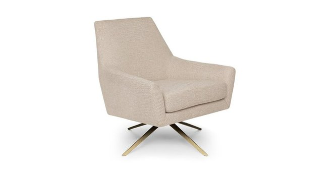 Article Spin Mid-Century Modern Swivel Lounge Chair Calcite Ivory