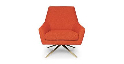 Spin Mid-Century Modern Swivel Lounge Chair Sunset Orange