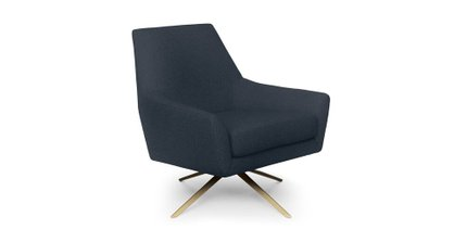 Spin Mid-Century Modern Swivel Lounge Chair Ink Blue