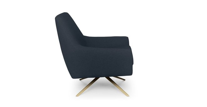 Article Spin Mid-Century Modern Swivel Lounge Chair Ink Blue