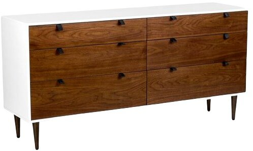 Article Envelo 6 Drawer Double Dresser Walnut And White