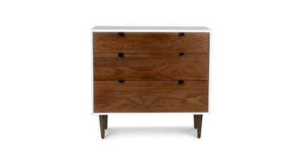 Article Envelo 3 Drawer Dresser Walnut