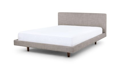 Tessu Clay Taupe Queen Bed Gray & Walnut