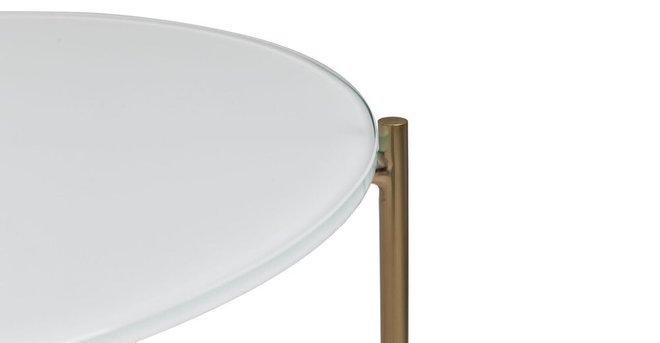 Silicus Mid Century Modern Glass Coffee Table Light Gray